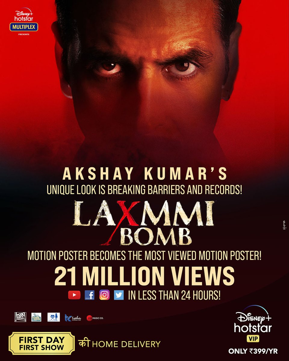 Breaking barriers and how. Thank you everyone for making this the most viewed motion poster in 24 hours!  #YehDiwaliLaxmmiBombWaali 💥  #LaxmmiBomb #DisneyPlusHotstarMultiplex #FoxStarStudios  @akshaykumar @advani_kiara @offl_Lawrence