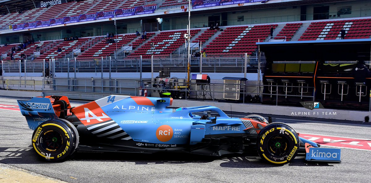 Barcalona test 2021... @alo_oficial first outing.  What if Alpine ran with a proper French racing blue instead of the dark chrome..  Model: @RaceSimStudio   #f1 #f12021 #formula1 #alpinef1team https://t.co/g1hlAABPzB