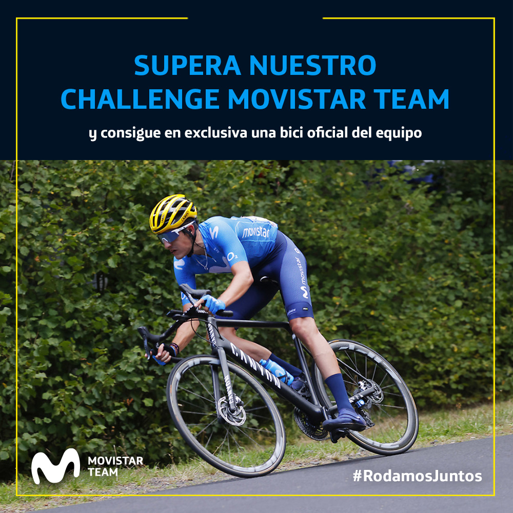 ¿Serías capaz de hacer 100 kilómetros en bicicleta? 🚴♀️🚴♂️ ¿Quieres una bici del @Movistar_Team? 🎁🚲 Entonces, participa en el https://t.co/QniUMBTUBW y acepta el reto con @Strava. #RodamosJuntos  +info 👇 https://t.co/lIuT4taBHE https://t.co/NvHMCeYyZj