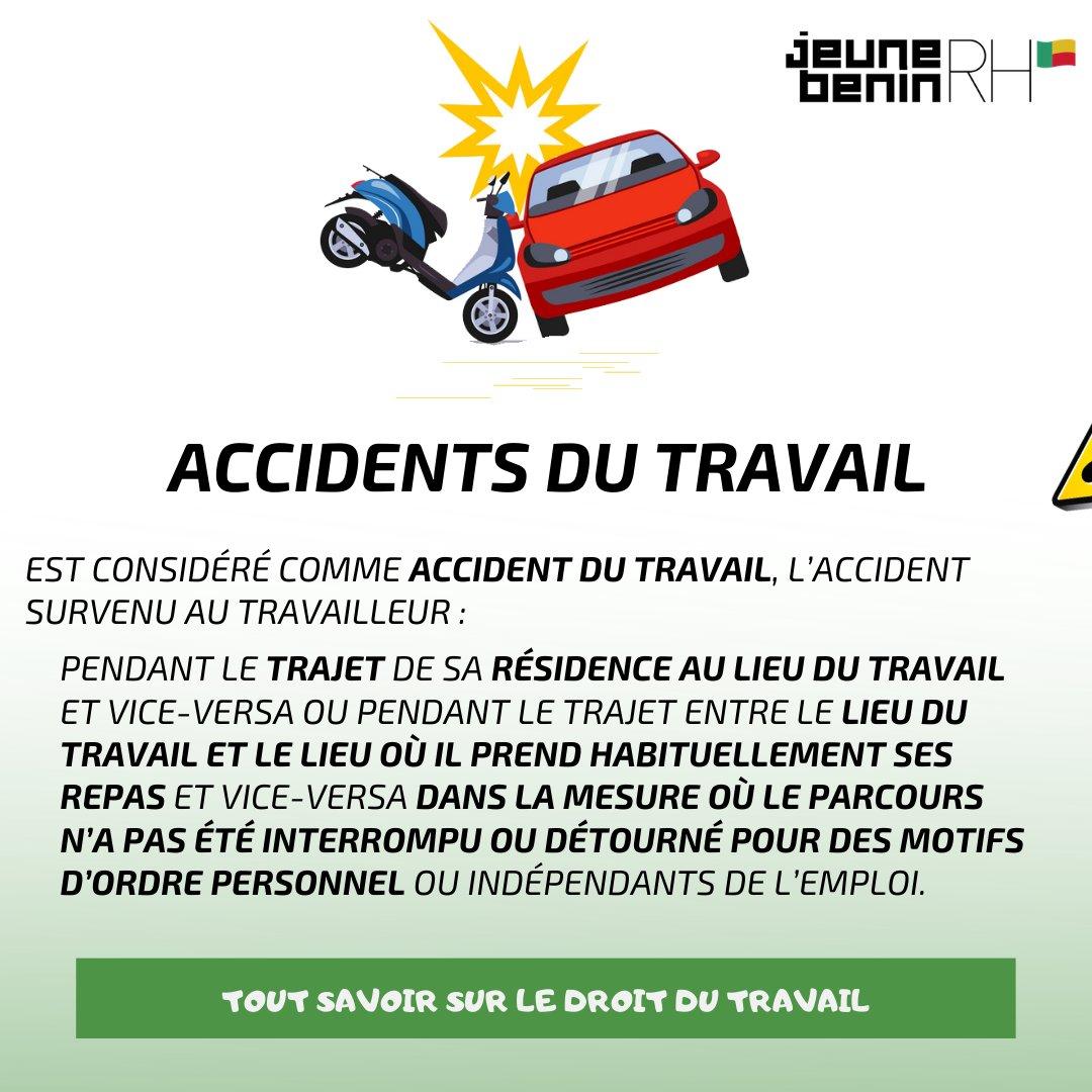En cas d'accident de travail : - Aviser son employeur ; - Faire constater par la police ;  - Consulter un médecin ;  - Retirer le certificat médical Initial.  #Emploi #salaire #cnss #Benin https://t.co/nU105SxVnK
