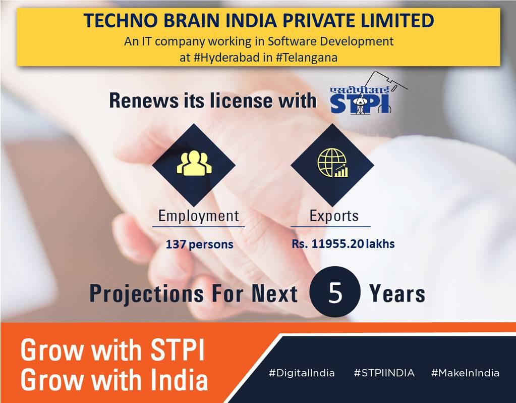 Congratulations M/s. TECHNO BRAIN INDIA PRIVATE LIMITED! for renewal of license! #GrowWithSTPI #DigitalIndia #STPIINDIA @rsprasad @SanjayDhotreMP @SecretaryMEITY @Omkar_Raii @TechnoBrainLtd https://t.co/mYhSetwRLN