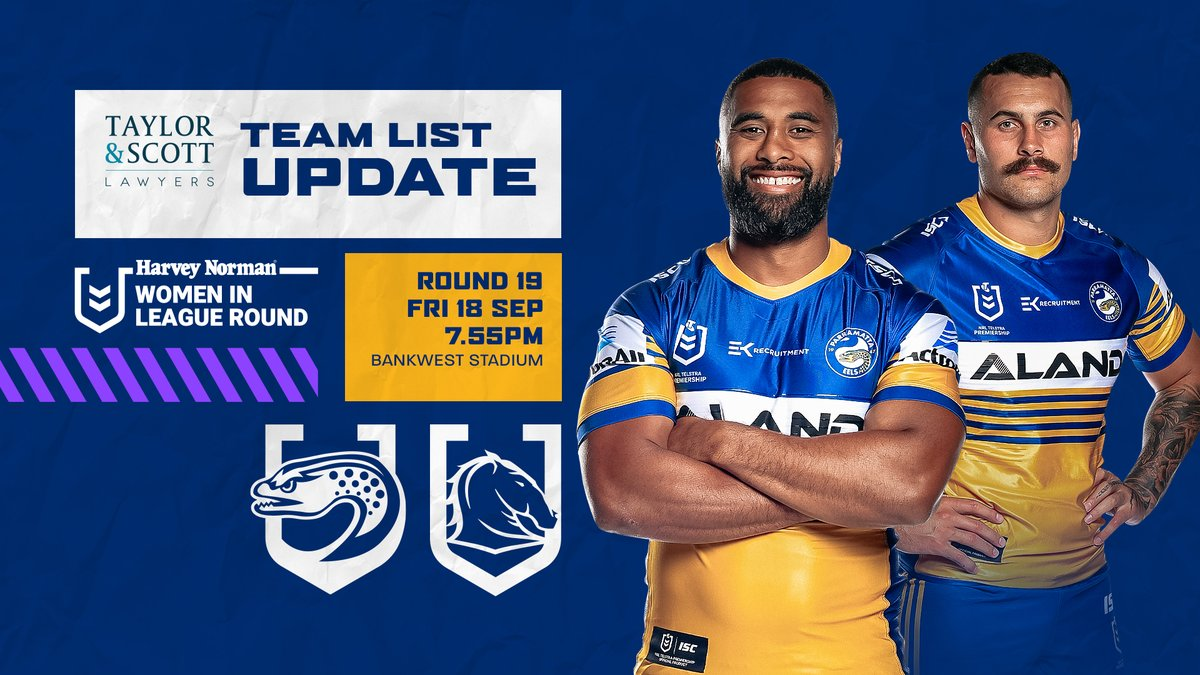 Parramatta Eels On Twitter Team List Update With 24 Hours To Go Until Our Clash Against The Broncos Ba Has Reduced His Squad To 19 Players See The Updated Team Lists
