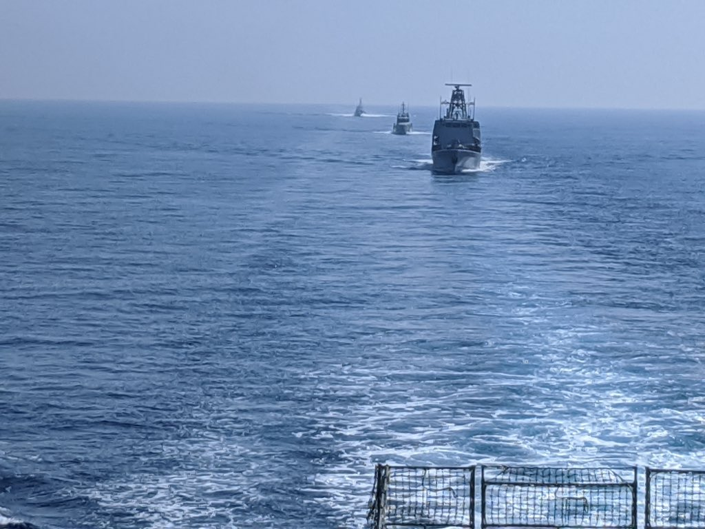 """Thank you to the @CypriotNavy for an excellent day of training exercises. Not only was this the first ever Royal Navy - Cypriot Navy Passage Exercise, but also the first ever Replenishment at Sea (""""RAS"""") conducted by a batch 2 OPV. #FormationNavy #NATO"""