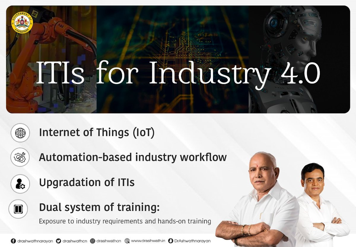 Our ITI students will now be ready to tackle latest technologies like IoT, Automation, Advanced Welding, Robotics & 3D Printing.  With exposure to industrial experience & hands-on training as part of the curriculum, our government will upgrade ITIs for Industry 4.0. https://t.co/NXJdc5UX1i