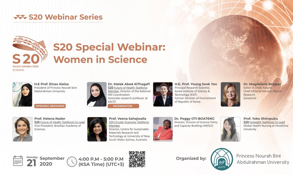Join us on Monday, Sept 21 for the final webinar of the #Science20 Webinar Series, organized by @_PNU_KSA. This special edition brings together a panel of distinguished female scientists and leaders in a dialogue on #womeninscience. Register here ➡️ https://t.co/zx2tQXicwd https://t.co/ReJOezBcAg