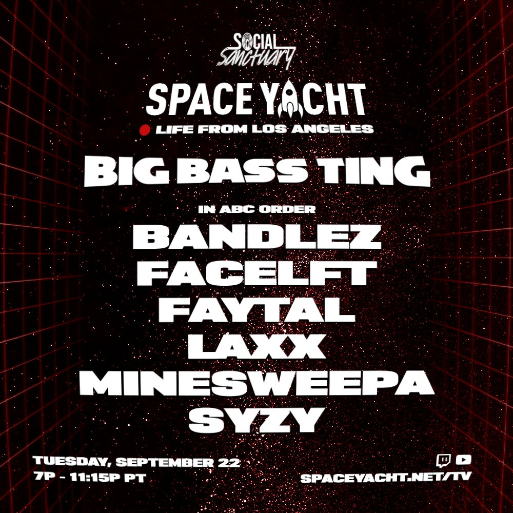 BOOM. BIG BASS TING IS BACK.   in abc order BANDLEZ FACELFT FAYTAL LAXX MINESWEEPA SYZY  TUESDAY 9/22 - 7P PT  RT this to enter to win a pizza delivery. picking winners on SUNDAY.  subscribe and ring my bell 👉 https://t.co/D2GF7jvZgE https://t.co/FwDqoymfUh