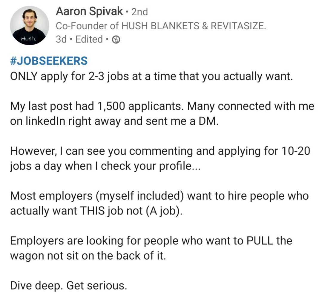Give it a few weeks between job applications to allow yourself to be ghosted then try again 👊🏻 #LinkedIn https://t.co/PngdZeot3P
