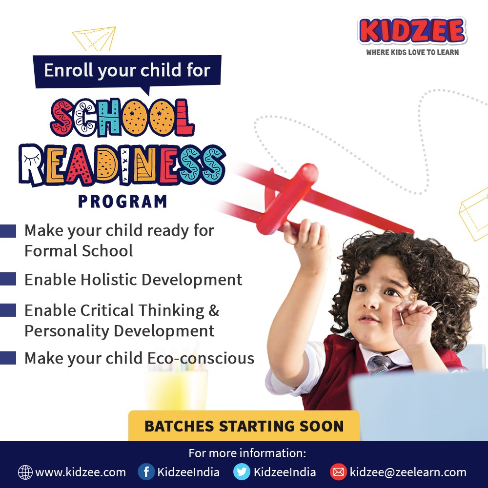 #Kidzee brings to you the #SchoolReadinessProgram that prepares your child for #school and enhances their #thinking ability, #learning skills and overall #development.  #Enroll your child today: https://t.co/iRk3U5pk8z  For more details please call: 022 40343956 https://t.co/hhjCfXIqbv