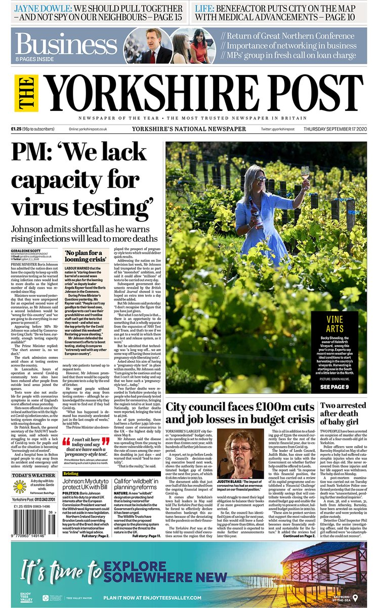 Good morning #folks, here are the front pages of todays Yorkshire Post and Business supplement. #Yorkshire #buyapaper 👉yorkshirepost.co.uk/subscriptions #ProtectProperJournalism