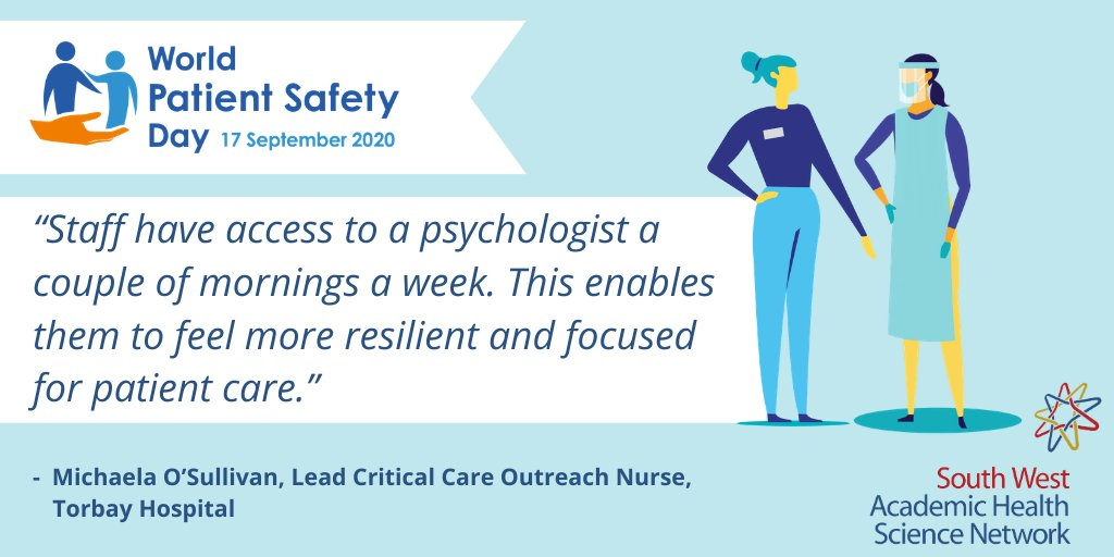 Today is #WorldPatientSafetyDay 🎉  #WPSD2020 focuses on #Healthworker safety 👩‍⚕️🧡 Michaela, one of our #PatientSafety champions, explains how her team maintain #wellbeing & safety for both staff and patients.  Find out more about our work around this: https://t.co/mJe0SqfRwE https://t.co/2hyIdhE6Cf