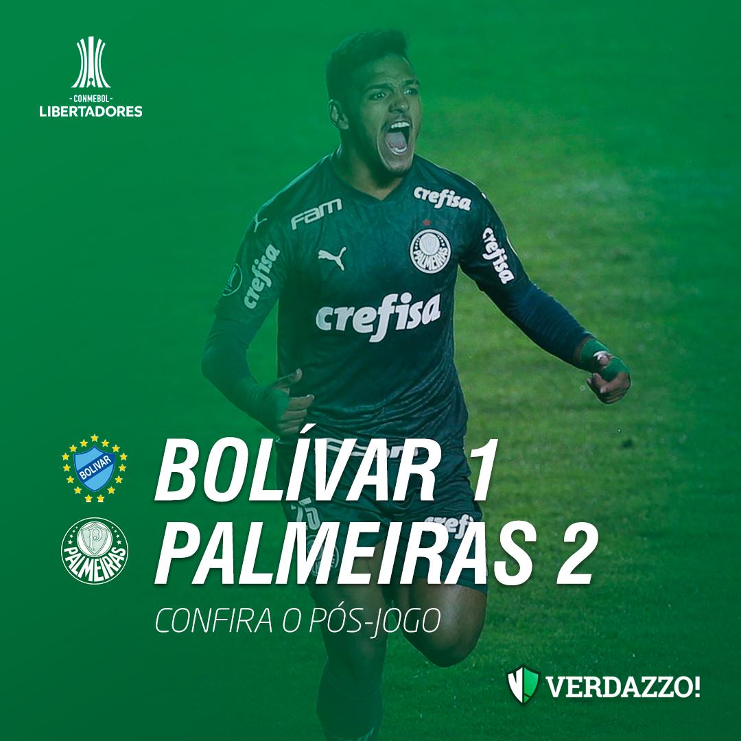 O Palmeiras venceu o Bolívar por 2 a 1, em La Paz, e ficou numa posição bem confortável do Grupo B da Libertadores  Confira o pós-jogo e as notas dos jogadores:   https://t.co/75FzHZO1bX https://t.co/GSv0bfMzg2