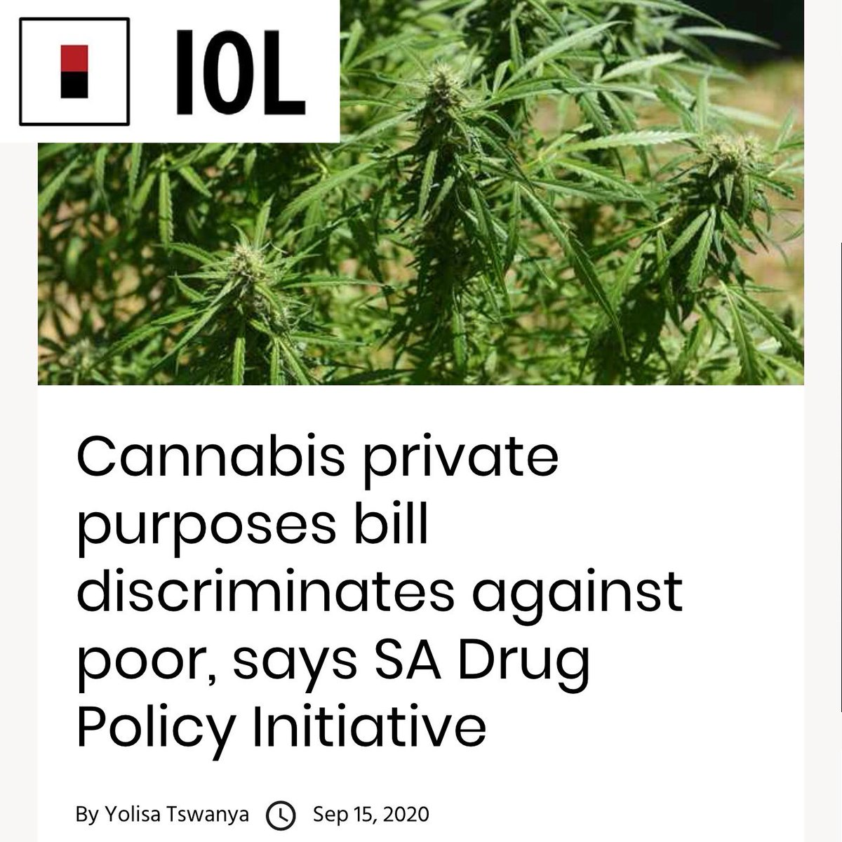 DaggaCouple: Cannabis private purposes bill discriminates against poor, says SA Drug Policy Initiative  https://t.co/Y3WWMKTe4D #GoodPeopleDisobeyBadLaws #CannabisCanHelpSA #noplantcounting #KnowYourFarmer #cannabisclub #StopTheCops #PeoplesPlantLobby #… https://t.co/K2BtQU9cBq