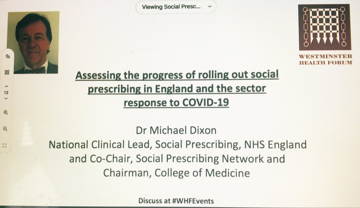 Such an inspiring speech from Dr Michael Dixon this morning at #WHFEvents it's clear that #socialprescribing is working extremely well taking a role in sick communities every bit as much as sick patients 👏👏💚 https://t.co/zjIL7SeyqQ