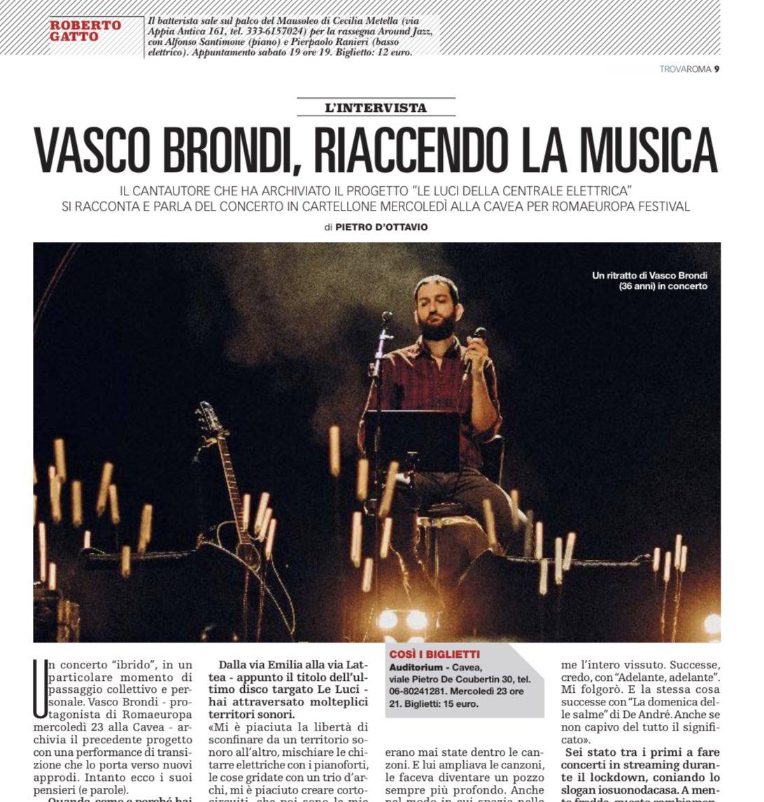 Il cantautore @vasco_brondi si racconta a Pietro D'Ottavio e parla del concerto in calendario alla Cavea dell'@AuditoriumPdM per @Romaeuropa. Sul #TrovaRoma di oggi, in edicola con @repubblica. https://t.co/AMxAiQvmOn
