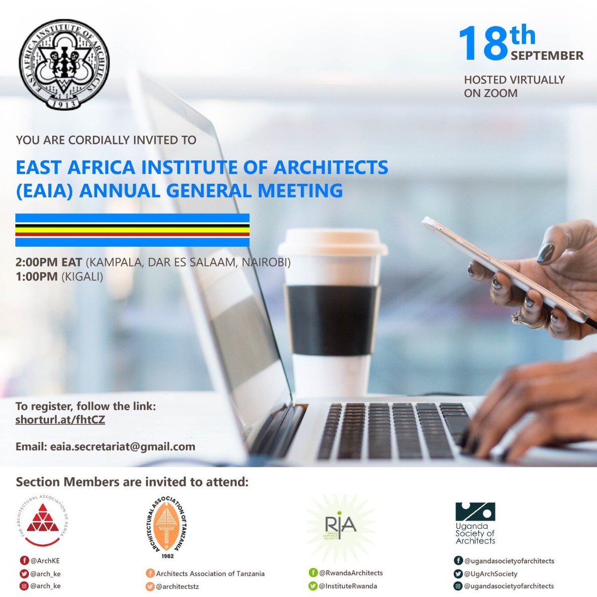 The East African Institute of Architects invites you the Annual General Meeting tomorrow. @KKCONSULTINGAR1 @RIBA @ArchForumUganda @architectandre @AUA_UAA @UIA_Architects @UIA_Architects @Arch_KE click the link below to register:  https://t.co/b0Qz4KvsJI https://t.co/01mFxfZU33