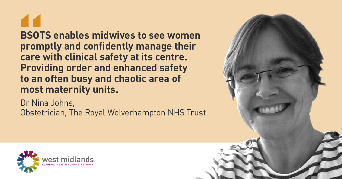 BSOTS enables midwives to see women promptly and confidently manage their care, providing order and enhanced safety to busy maternity units across England  #WorldPatientSafetyDay @WMAHSN @PTSafetyWM @WHO #MaternityBSOTs @RWT_NHS @NatPatSIP #patientsafety  https://t.co/WBFvcqEZtN https://t.co/ideRuvAqBw