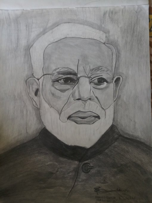 Happy Birthday Ris.Narendra Modi sir Drawn by Shlok Sanjay Dhotre 7th std,BalShivaji School,Akola,Maharashtra.