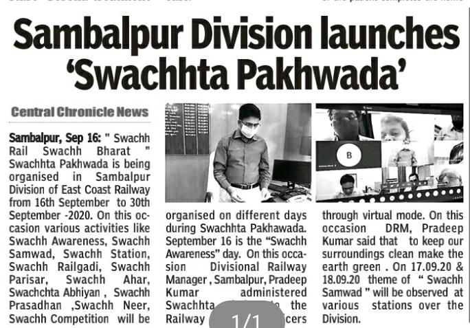 @RailMinIndia @EastCoastRail  To provide Clean and Hygienic environment to Rail Users-#SwachchtaPakhwada commenced over Sambalpur Division #SwachhBharatAbhiyan #SwachhRailSwachhBharat https://t.co/lo6kBJIC5p