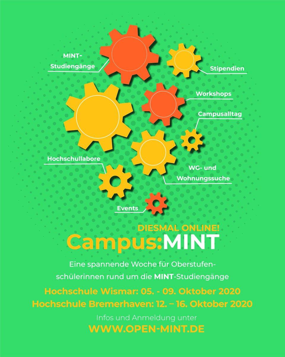 Du bist Schülerin und stehst vor der Entscheidung was nach dem (Fach-)Abi kommt? Dann komm zu Campus:MINT - digital vom 5.-9.10. an der HS Wismar und vom 12.-16.10. an der HS Bremerhaven. Ein Angebot vom @BMBF_Bund-geförderten Projekt Open:MINT.👉https://t.co/SFJ1IN913K #MINT https://t.co/69ZFeZ5luF