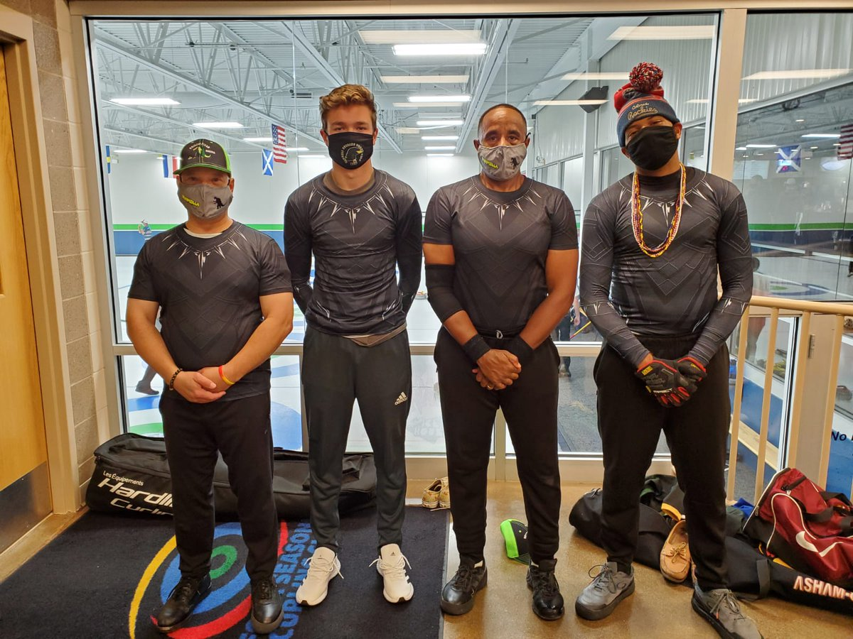 Hi everyone did you missed our teams Black Panther outfits # Broomzilla @ the Just concluded US OPEN CONTENDER BONSPEIL! Our male team blended fashion with Curling #OurGame #OurTeamNigeria