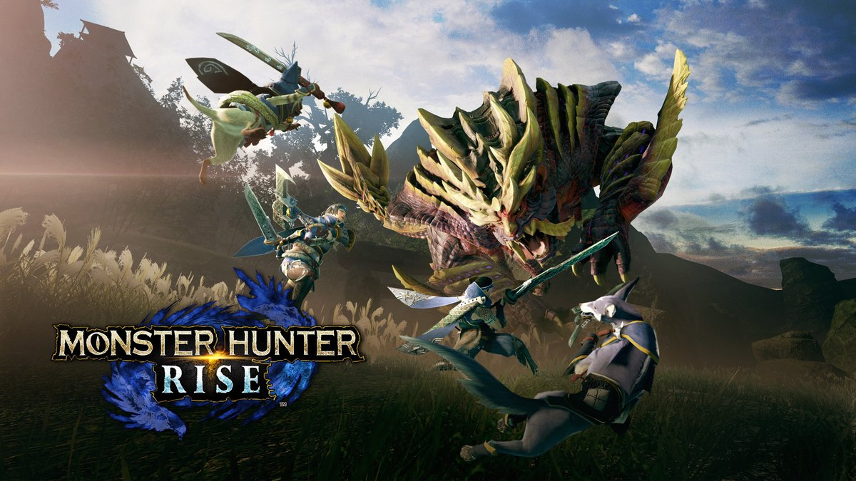 "Team up and save Kamura village from the impending ""Rampage""! Harness the new Wirebug and enlist the help of Palicoes, and Palamutes, your new Canyne companions! #MHRise  Monster Hunter Rise launches on #NintendoSwitch on March 26, 2021. https://t.co/kKfgUSycbA"
