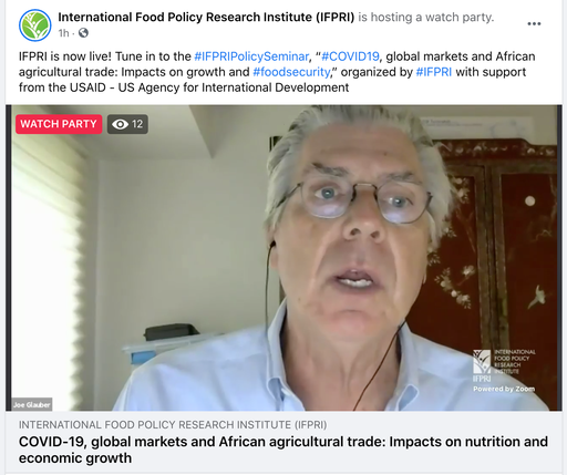 "@USAID @SEATINIUGANDA @JoeGlauber1 @Jo_Swinnen @USAIDAfrica @USAIDGH @CGIAR @CGIARnutrition ""A lot of [pandemic-related trade restriction] actions we saw initially in March and April turned out to be a lot less consequential that we thought they would be."" – @JoeGlauber1 @IFPRI https://t.co/V3W8DODe4V"