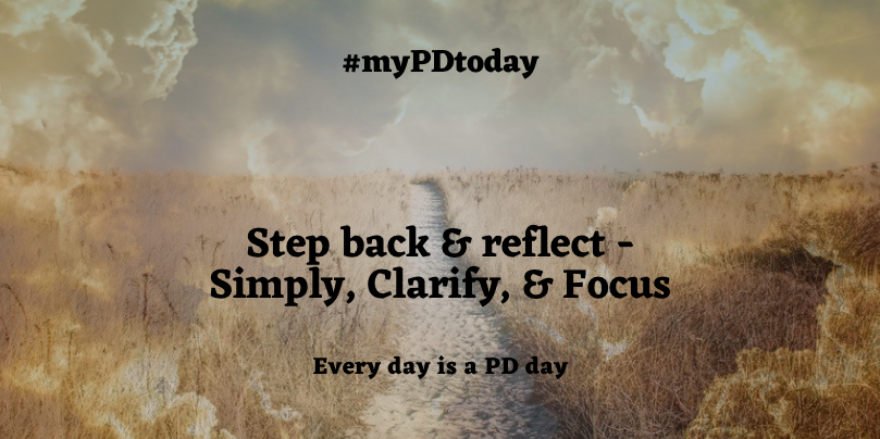 During times of change & turmoil, we often make complicated what, by taking a step back & reflecting, we can simplify, clarify, & focus to continue our way forward. Every day is a PD day. #myPDtoday @awfrench1 @TCrawford306 @JillDuBois22 @datruss @KrishanaSankar @biologygoddess https://t.co/1Ssaj51ERM