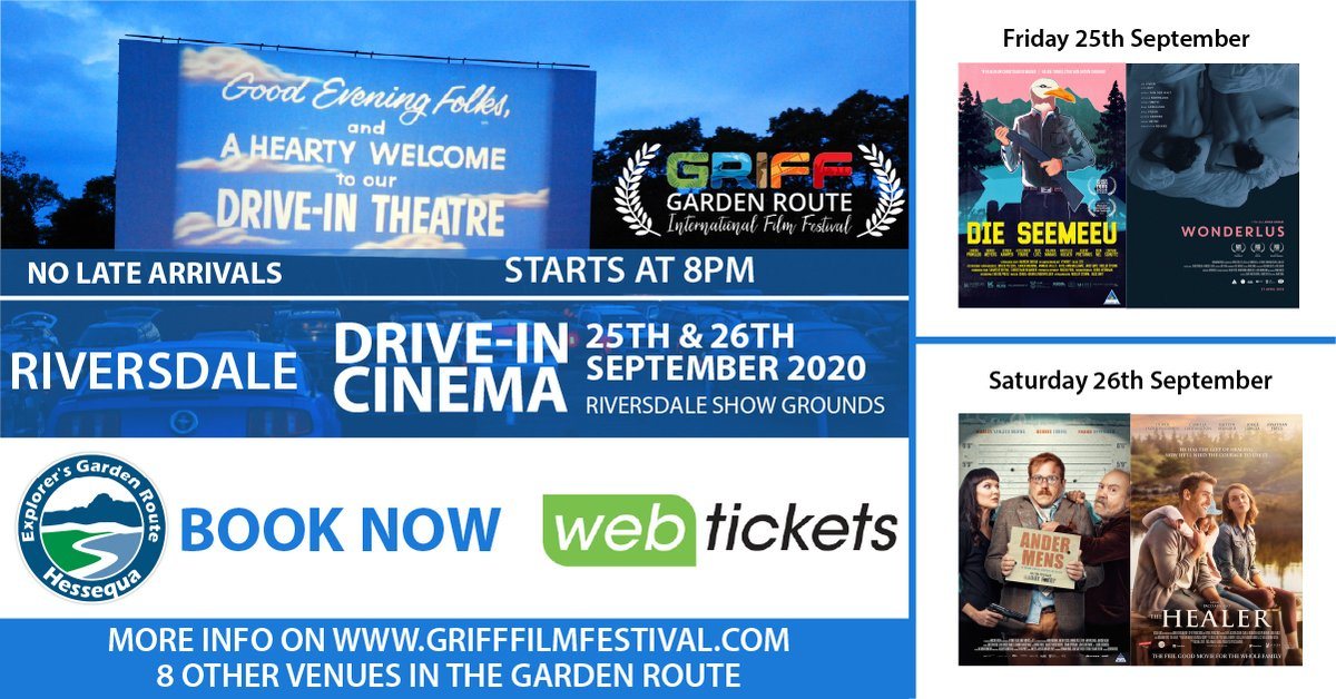 This year, the @GrifffilmFest will run a Virtual Online Festival from 21 September - 11 October, with a number drive-in events taking place across 8️⃣ towns in the Western Cape! 🎥  Get your tickets today ➡️: https://t.co/pmpINnwaHv    #WesgroFilm #GetYourGRIFFOn #FilmCapeTown️ https://t.co/OdcKbpSYDI