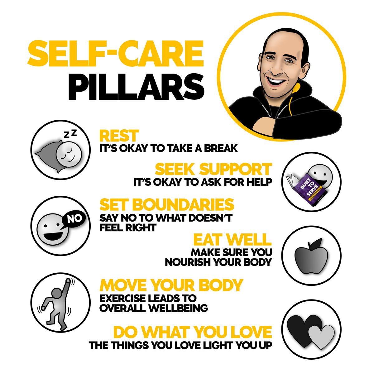 Drop a 'YES' below if you need to embrace one of these points! 👇  Self-care pillars: 1. Rest 2. Seek support 3. Set Boundaries 4. Eat well 5. Move your body 6. Do What you love ______________________________________  #bestadvice #personaldevelopment #selfcare https://t.co/SEFamW8jBH