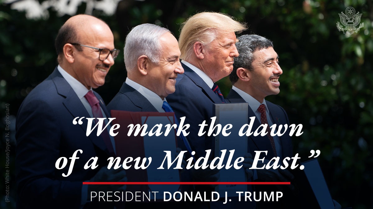 President @realDonaldTrump on the Abraham Accords: After decades of division and conflict, we mark the dawn of a new Middle East. https://t.co/205Ot5Dc4T. https://t.co/RlfAjlCiqE