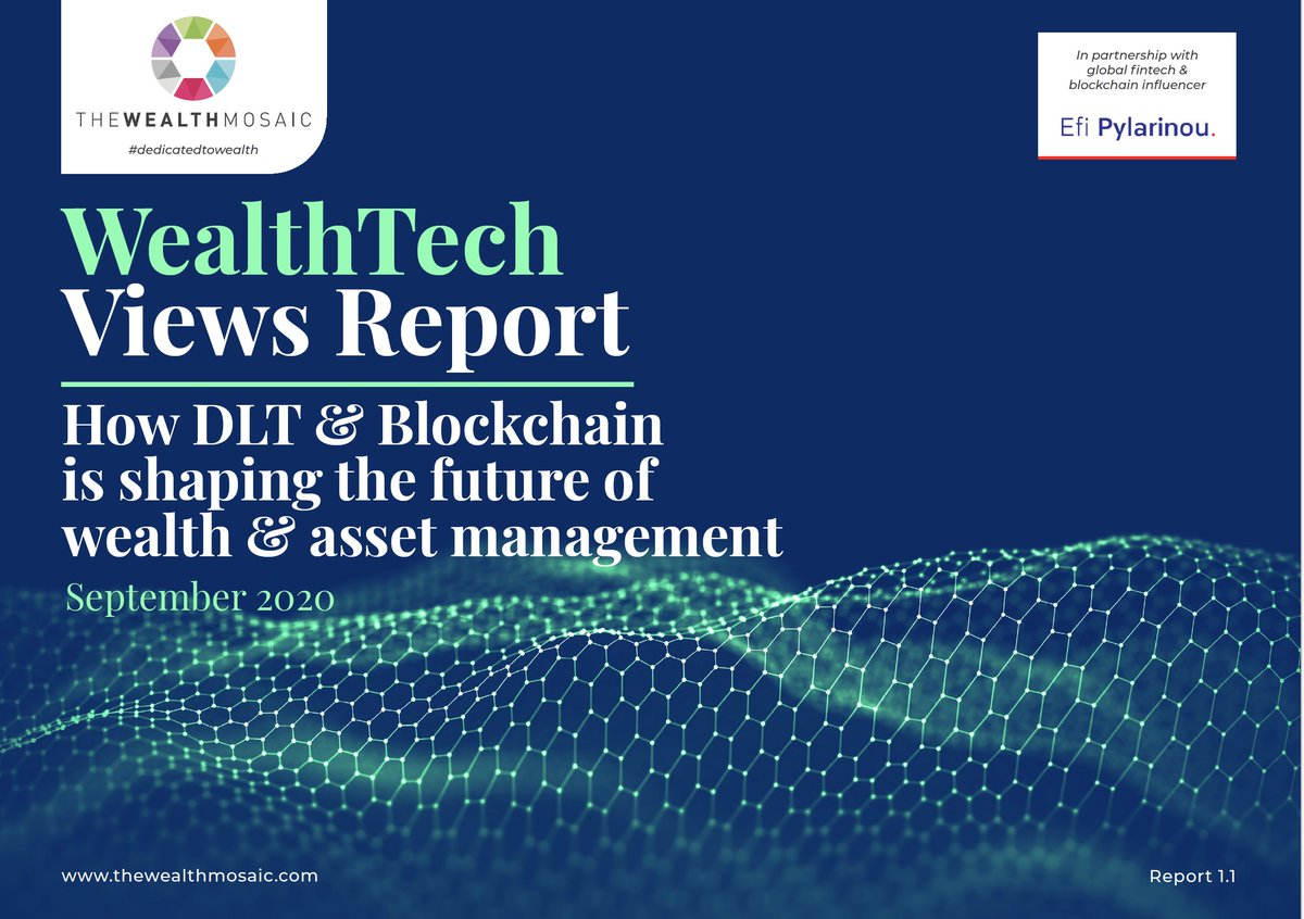 We are proud to introduce the latest #WealthTech Views Report, on #DLT & #Blockchain`s impact on the future of #wealthmanagement & #assetmanagement.  A collaborative effort btw. @TheWealthMosaic & @efipm now available: https://t.co/jEkzqp0u0x @EricBalchunas @MichaelKitces https://t.co/LMcLHNIjaf