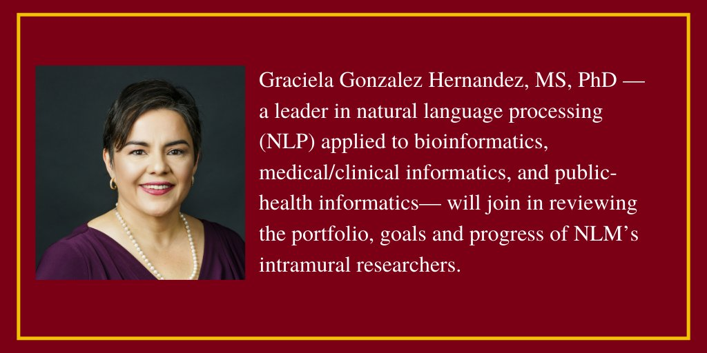 Congrats🎉 to Graciela Gonzalez Hernandez (@gracielagon), who will join the National Library of Medicine Board of Scientific Counselors! @nlm_news @moorejh @UPennIBI  #informatics https://t.co/DVpL9tpYP1