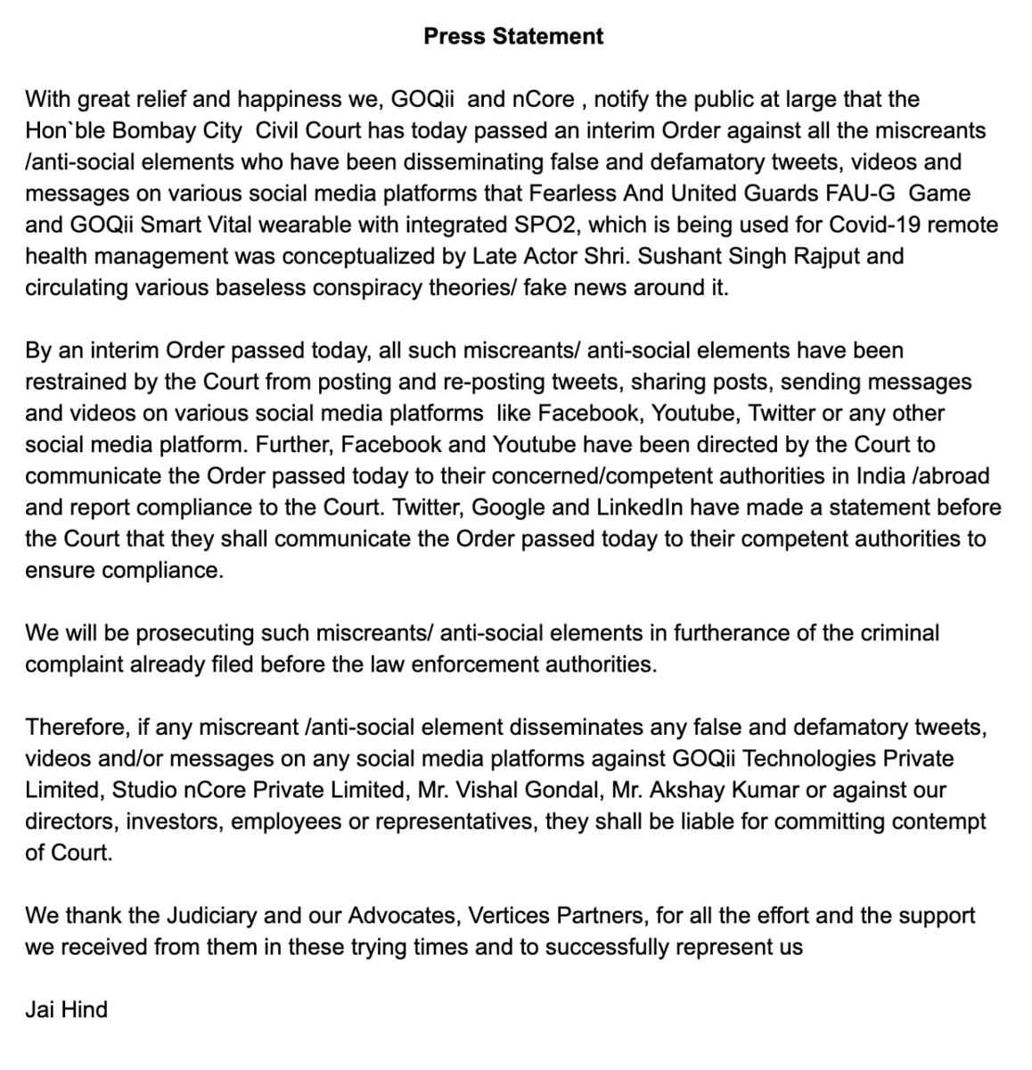 Important Press Statement  Interim order passed by Hon`ble Bombay City  Civil Court   @akshaykumar @vishalgondal @GOQii #JaiHind