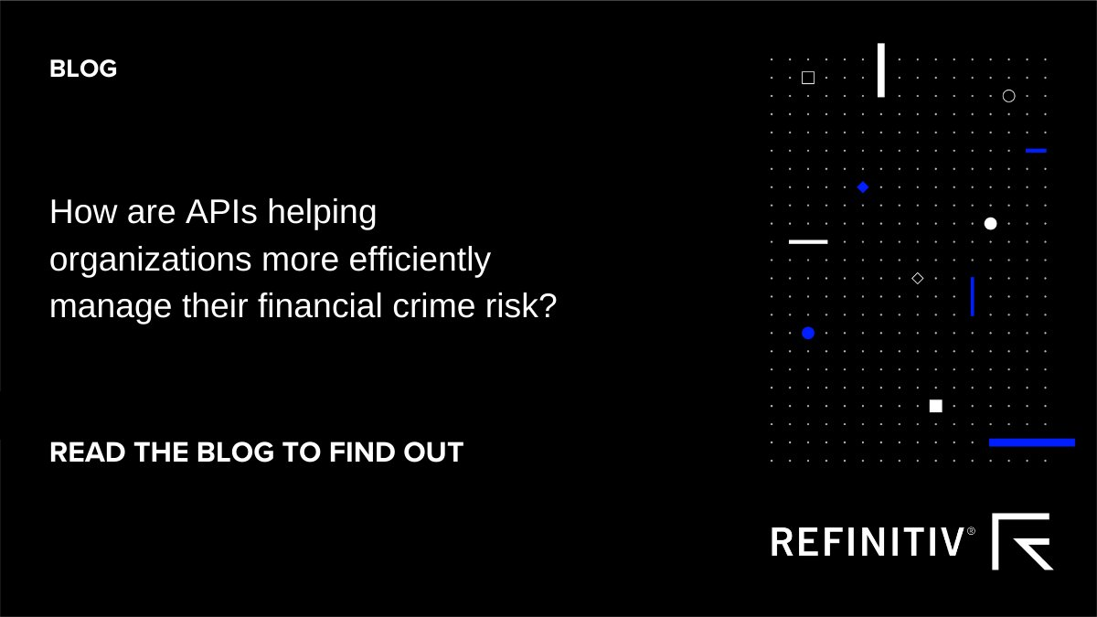 How are #APIs enabling #FinancialInstitutions to more quickly and cost-effectively focus on #Compliance risks and suspicious cases? https://t.co/qkKk0OiHL6 @Refinitiv #FightFinancialCrime https://t.co/a80IsbEIrd