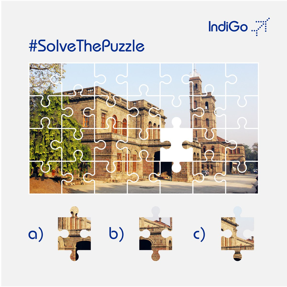 Calling all puzzle enthusiasts on board! Guess which missing piece completes this rustic yet elegant capture. #solvethepuzzle #puzzle #letsindigo #aviation https://t.co/YsluXAqq2a