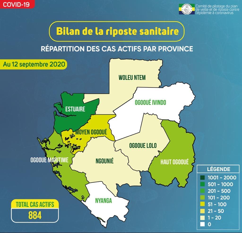 #Bilan des 6 mois de la riposte sanitaire : découvrez la carte des cas actifs par province. Au 12 septembre 2020, l'Ogooué Ivindo et la Nyanga ne comptaient aucun cas actif.   #mesuresbarrières #fightcovid19 #ensemble #copilcoronavirus #Gabon🇬🇦 https://t.co/xZSy8ZqXh9