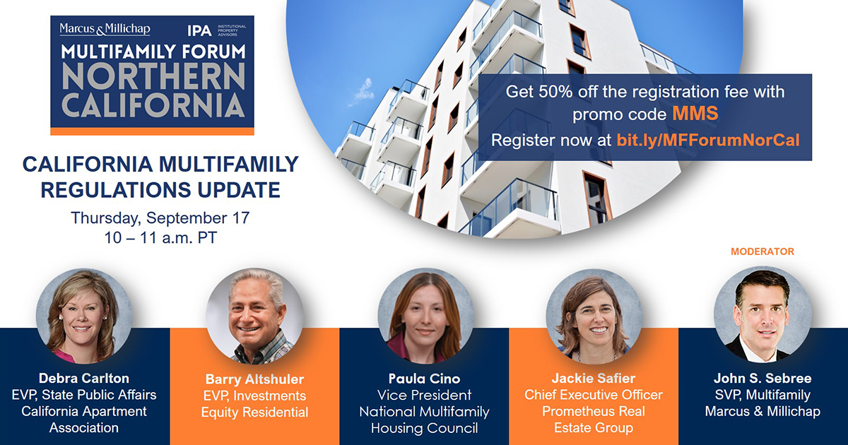 There's still time to register for the Northern California Multifamily Forum! Get 50% off the registration fee with promo code MMS. Register now at https://t.co/JRoO1FZa3i. Be sure to attend today's California Multifamily Regulations Update session #CRE #norcal #multifamily https://t.co/XT0k8sKy4P