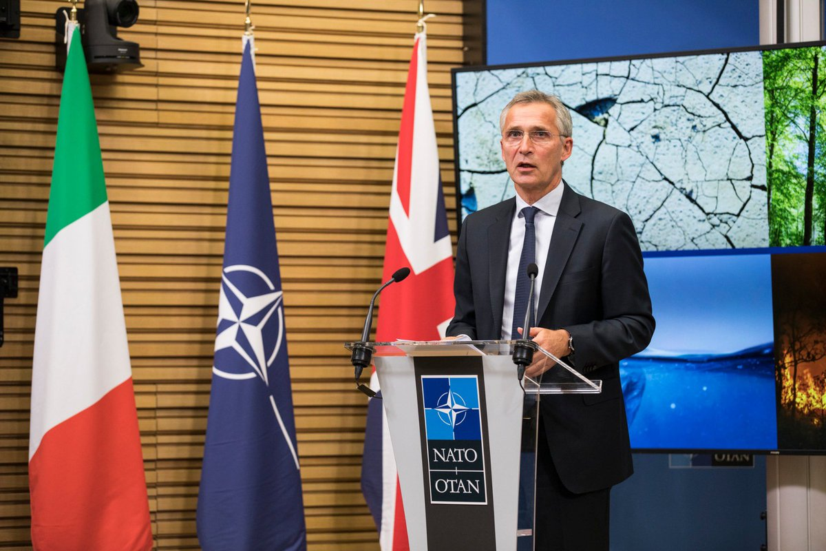 #NATO Secretary General @jensstoltenberg participated in a seminar on security and the environment, organized by @ItalyatNATO and @UKNATO. The importance of cooperation between the Alliance and other international organizations was highlighted. ➡️ bit.ly/2Haucrz