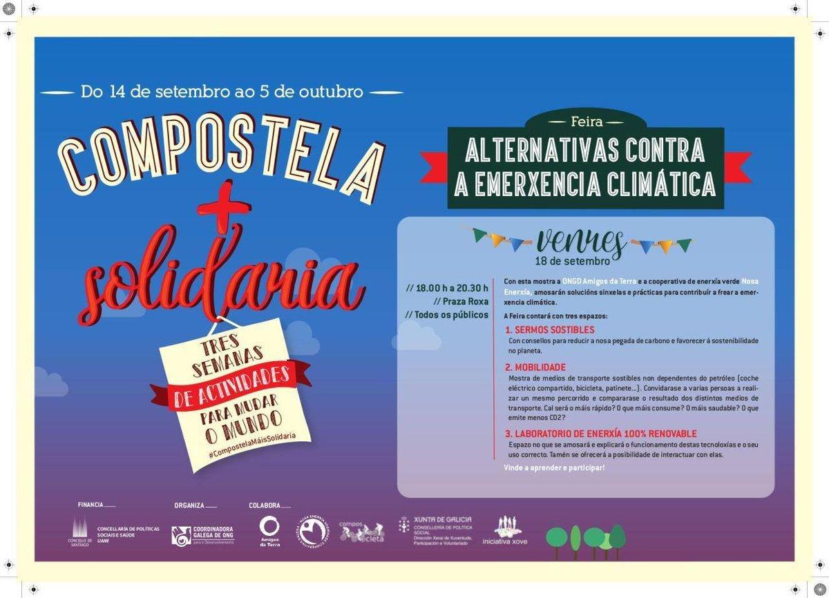 """🔋🔌 A cooperativa @NosaEnerxia  participa mañá na feira """"Compostela+Solidaria"""", nun acto no que se vai falar de alternativas ante a emerxencia climática. 🔥🌊🌬️🌪️🌡️ @cgongd  @PazodeRaxoi https://t.co/5ZblJpZRbU"""