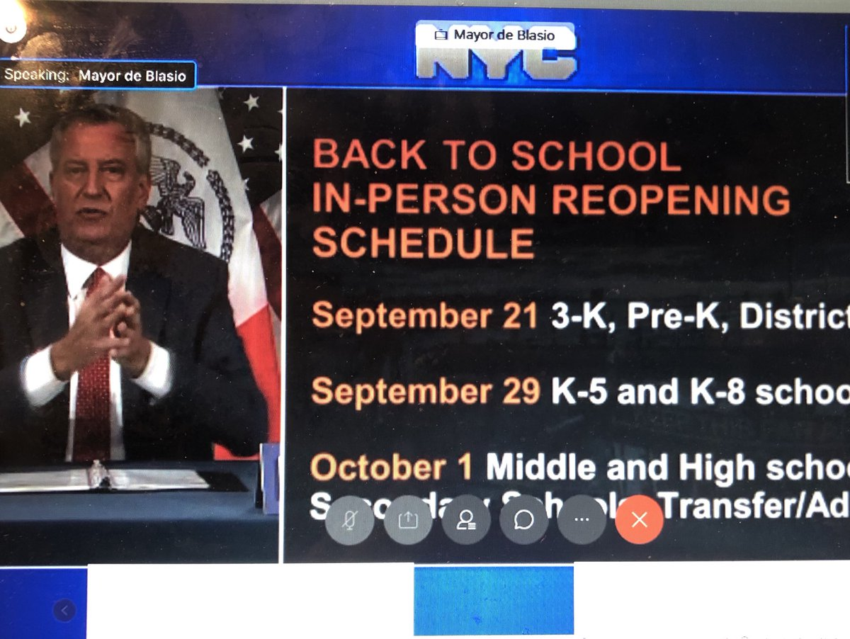 Huge News in NYC School Reopening. Phased in start to in-person school: