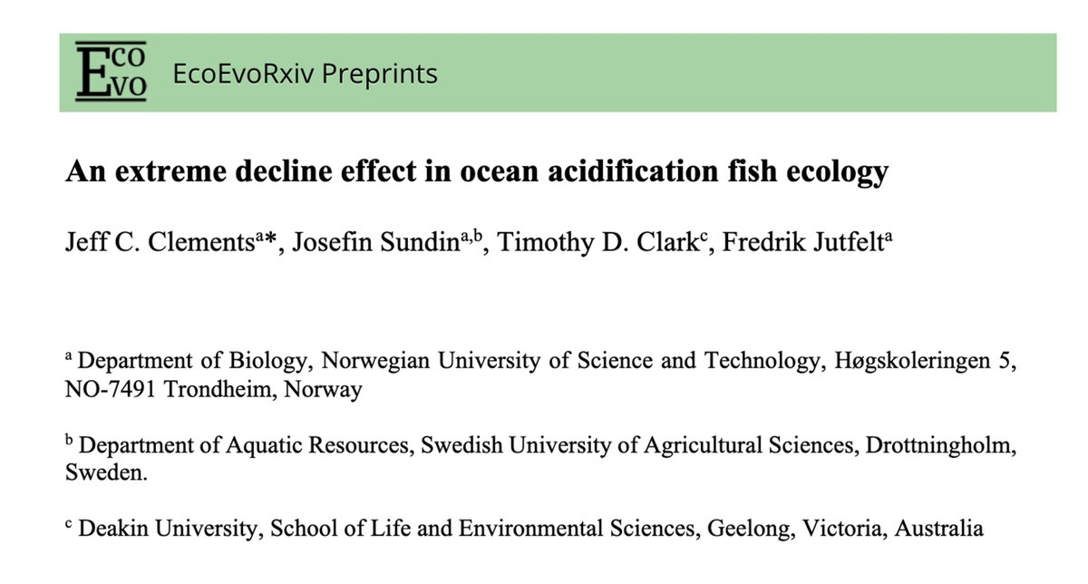 A recent study in @nature couldn't replicate drastic CO2 effects on coral reef #fish behaviour & empirically found no effect of #oceanacidification https://t.co/7KjMi1rFvL   Our #metaanalysis of the past decade on this topic concurs https://t.co/89NiDWVhmk   Breakdown thread👇 https://t.co/jGbJv3mKrt