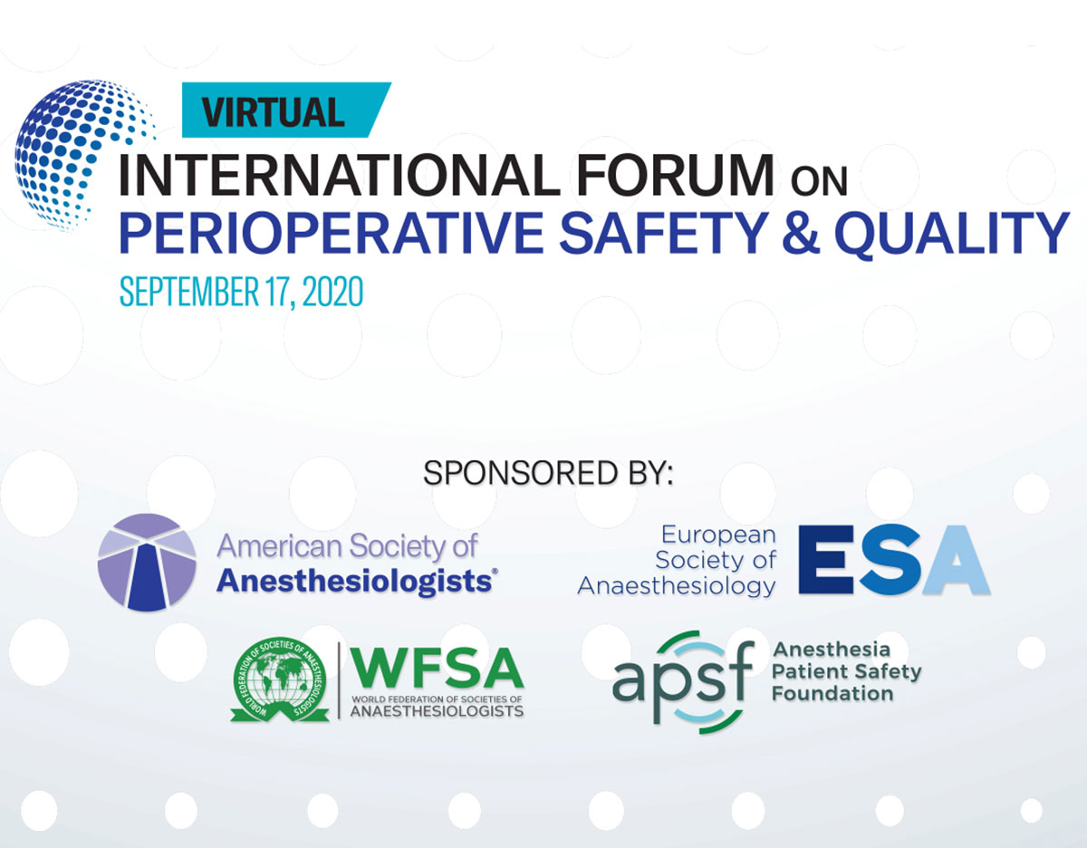 Celebrate #worldpatientsafetyday2020 with the International Forum on Perioperative Safety and Quality  watch it now @ https://t.co/b9cbQ4oYxZ  Just watching an excellent presentation by @AAGBI_President on Emotional Challenges of Frequent Patient-Colleague COVID Deaths. https://t.co/5KojtHUOys