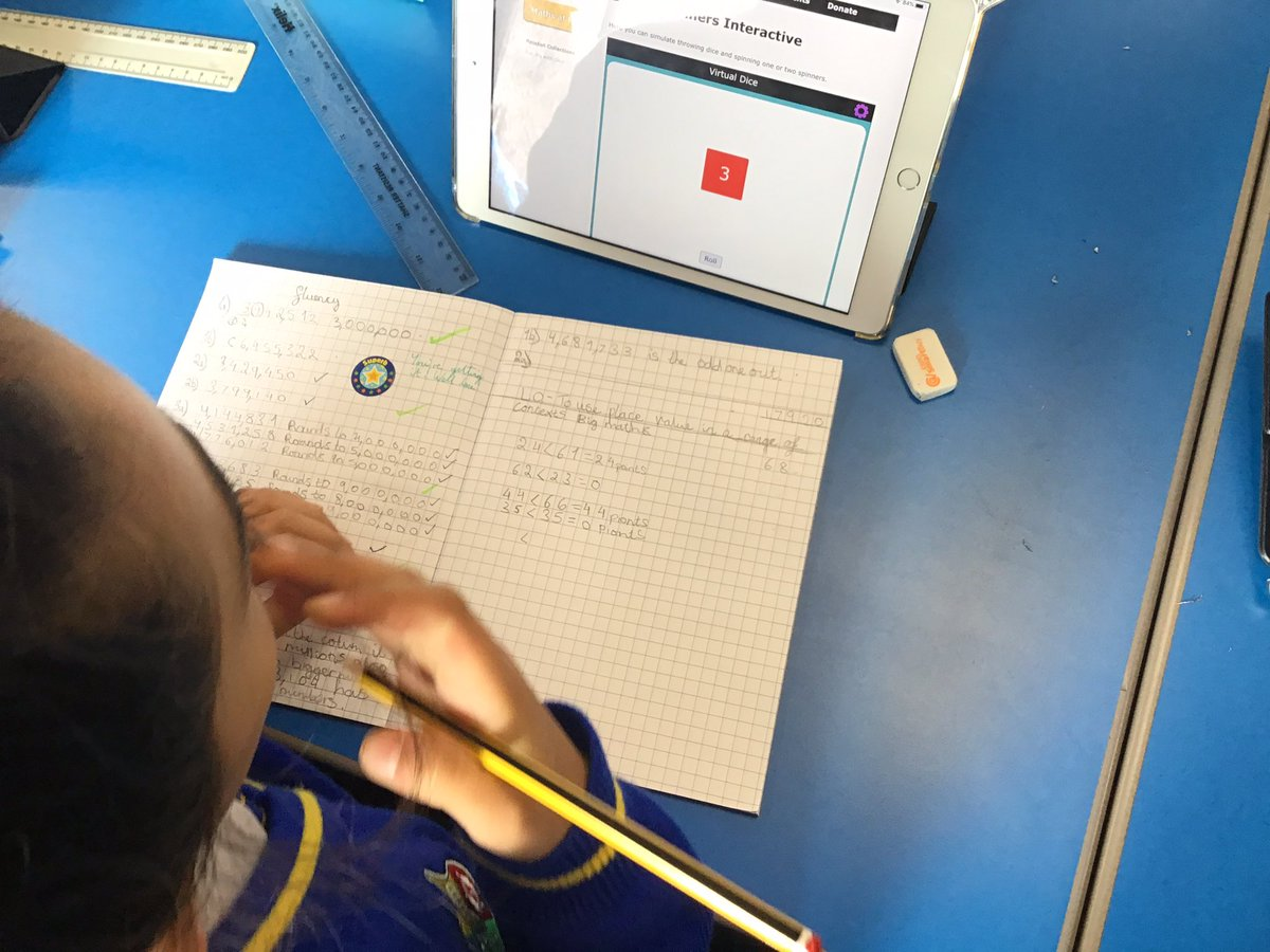 In Maths, we played @nrichmaths activities alongside an interactive dice to put our place value knowledge to use! @WhiteRoseMaths #AppleEDUchat #Nrich #primarymaths https://t.co/Wxt4ygUn1A