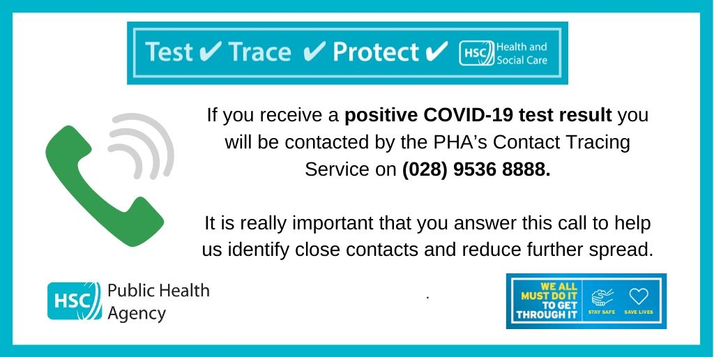 How does contact tracing for #COVID19 work? You will be contacted by the team on (028) 9536 8888 if you have received a positive result or have been identified as a #closecontact We will never ask for financial or social media details. Check out https://t.co/fmM1Isv1Dn for info. https://t.co/Gcp8mqCFZ4