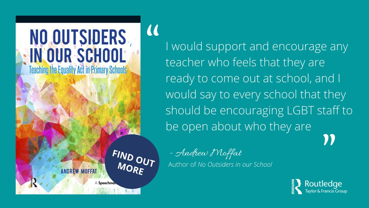 @moffat_andrew discusses why teachers may or may not choose to come out at school in his book No Outsiders in Our School: Teaching the Equality Act in Primary Schools. Find out more: https://t.co/YICcLLnyqx https://t.co/RHtPRF595L