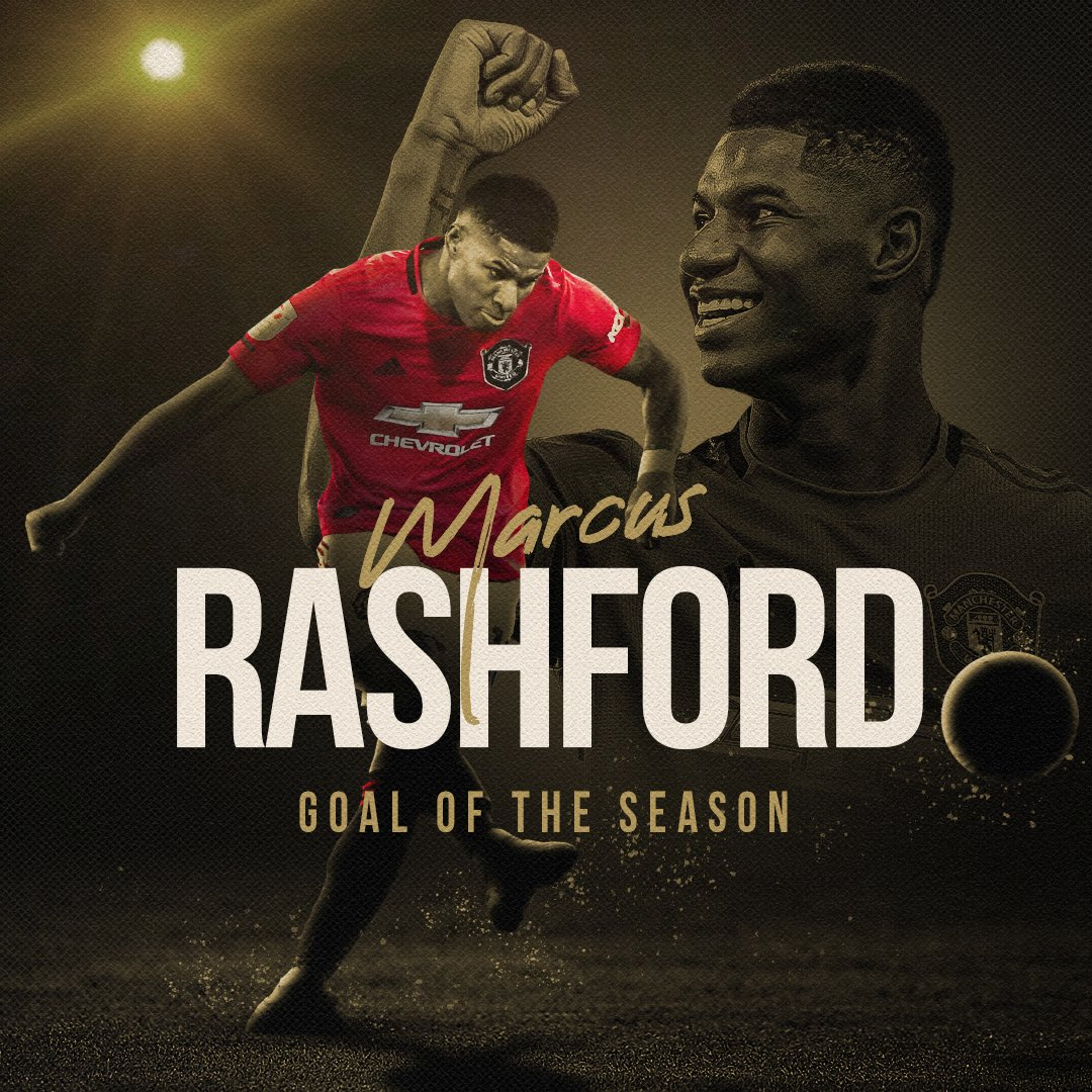 Congratulations, @MarcusRashford: you are our 2019/20 𝙂𝙤𝙖𝙡 𝙤𝙛 𝙩𝙝𝙚 𝙎𝙚𝙖𝙨𝙤𝙣 winner 👏 #MUFC