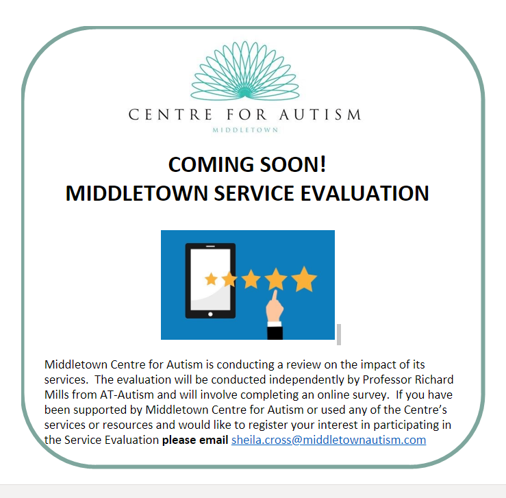 Middletown Centre for Autism is conducting a Service Evaluation to review the impact of its services. If you would like to register your interest in this project, please email the Centre's Research Projects Manager - sheila.cross@middletownautism.com  #ServiceEvaluation #Autism https://t.co/7nOQQIvFL0