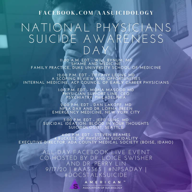 today is the day! It is national physician suicide awareness day. Myself and the incredible @L_swish will be interviewing some incredible people working to make a difference. Like the amazing @TLeungMD @WillBynumMD #bethe1to #NPSADay @AASuicidology https://t.co/maJYlWMAZ2
