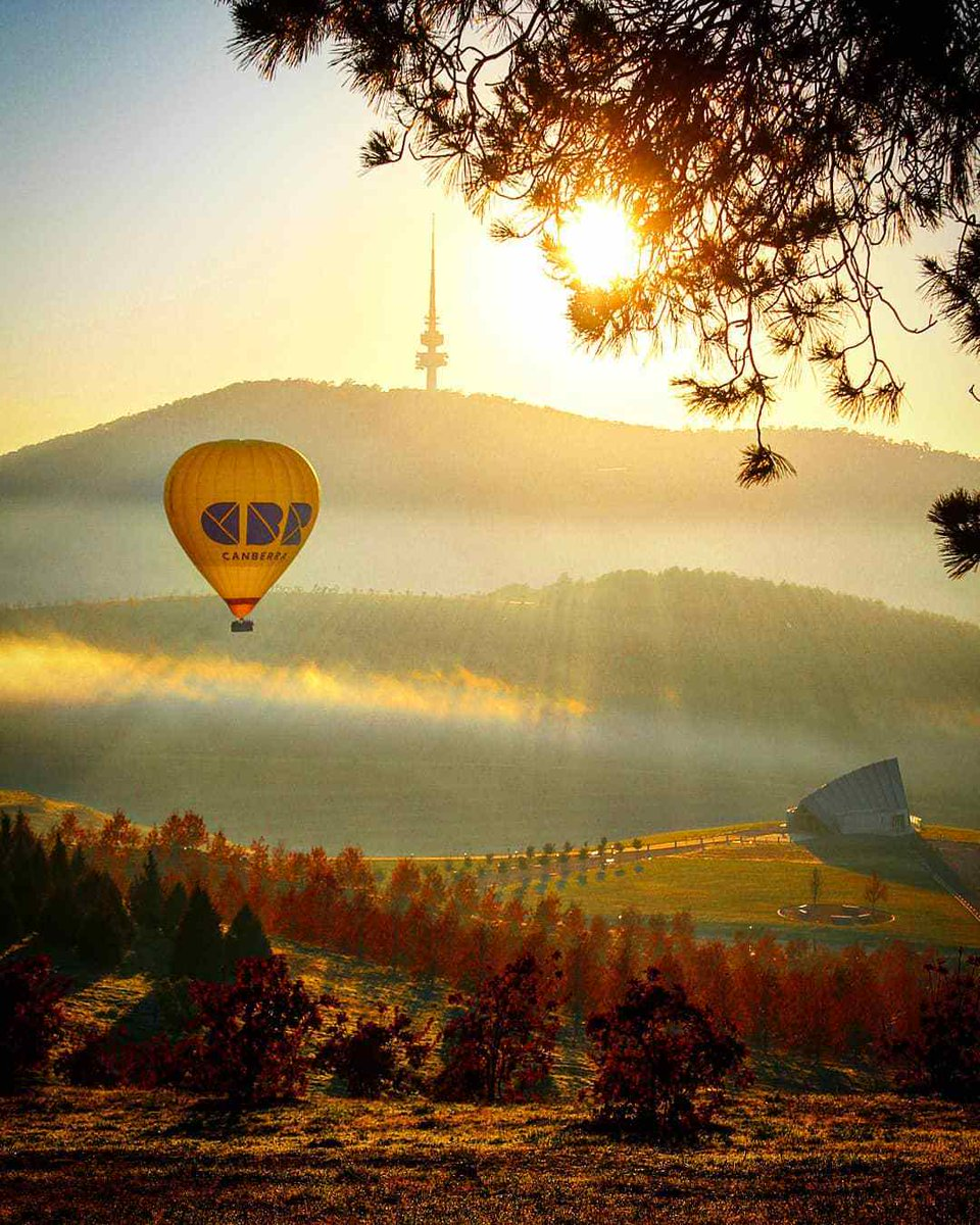Today, we're rising with the sun in @visitcanberra🎈  IG/_elizagrams_ captured this tranquil sunrise view of a hot air balloon floating peacefully over Australia's capital city.   #seeaustralia #visitcanberra https://t.co/kANov99RhR