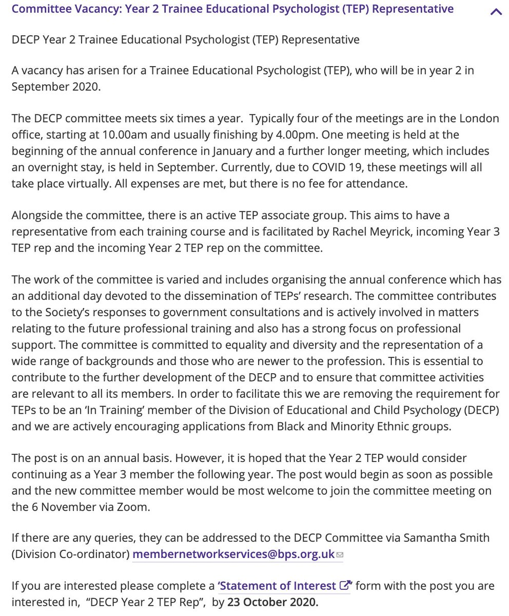 DECP Committee Vacancy: Year 2 Trainee Educational Psychologist Representative  An exciting opportunity has arisen for a TEP, who will be in year 2 in September 2020.    Click here for further details and how to apply: https://t.co/jrJxFUQbjZ   Closing date is 23rd October 2020 https://t.co/xGG1ImtAm6